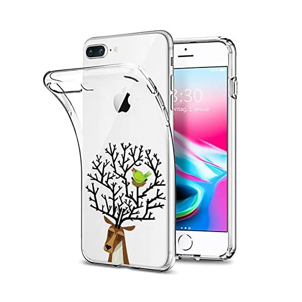 Oihxse Compatible with iPhone 6+/8+ 5.5'' Case Cover Crystal Clear Ultra Slim Lightweight Soft TPU Gel Bumper, Chic Fashion Pattern Design Transparent [Original Beauty] Shockproof Skin, Magpie Elk Oihxse ✨【SLIM FIT】ONLY compatible with iPhone 7+/8+Plus without bubbles, bubbles smudges, slippy and clinging, which provide a great hand feel & comfortable grip, easy put in and take off from pockets. ✨【CRYSTAL CLEAR】Cute and stylish pattern prints on the crystal transparent slim IPhone 7+/8+Plus case, not only shows off the original beauty but adds more chic, fashion and elegant sense, makes you stand out from crowd and eye-catching. ✨【PREMIUM MATERIAL】Made from nontoxic and tasteless flexible TPU material, non fade and peel off. It can resist Iphone 7+/8+Plus bumps, drops, scratches, impacts, shocks and fingerprint. 2
