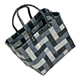 Einkaufstasche Florenz 6112-GR Kunstsotffgeflecht grau-schwarz - Shopper Badetasche Strandtasche Korbtasche