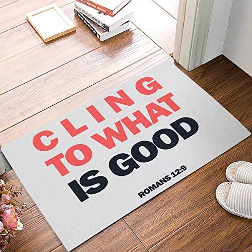 UNDAKX Personality Caps Hats Motto Quote Cling To What Is Good Rectangle Kitchen Doormat Entrance Mat Floor Mat Rug Indoor/Outdoor/Front Door/Bathroom Mats Rubber Non Slip Orange Black