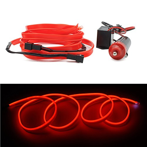 4x1m EL Wire Leuchtschnur Kabel Band Lichtschlauch Leucht Schnüre Neon Draht Light Lampe Beleuchtung Lichtband Lichtleiste Streifen für Auto Ambientebeleuchtung Orangerot