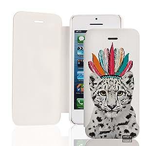 EVETANE - Etui livre Léopard indien pour Apple iPhone 5/5S
