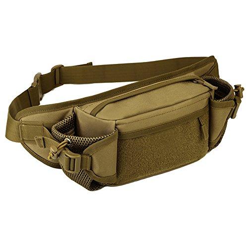 Huntvp Tactical Hüfttasche Bumbag Militär Taille Gürteltasche Hüftgürtel für Wandern Laufen Braun