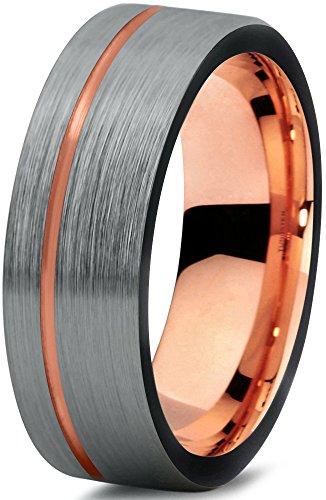 tungsten-wedding-band-ring-7mm-for-men-women-black-18k-rose-gold-pipe-cut-brushed-polished-lifetime-