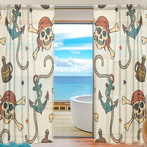 Vinlin Vorhang für Fenster und Wohnzimmer, mit Piraten-Motiv, aus Voile, für Schlafzimmer, Wohnzimmer, 2 Paneele, 139,7 x 198 cm, Multi, 55x78x2(in)