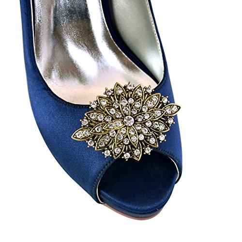ElegantPark CG Blatte Antik Design mit Strass Geschenk Flache Pumps Damen Schuhe Schuhclips 2 Stück Silber