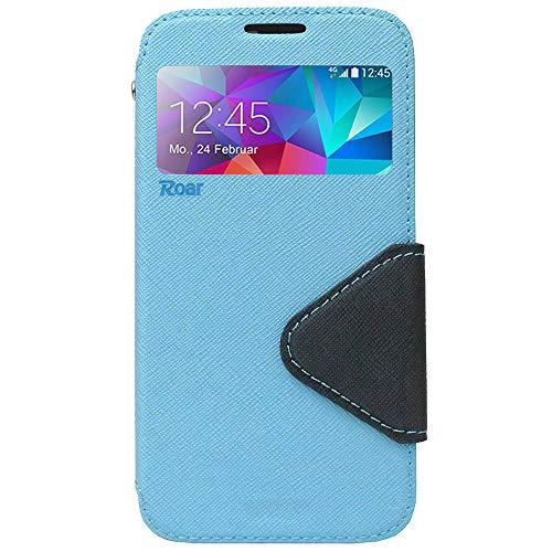 Roar Handy-Hülle für Samsung Galaxy Note 4, Hülle in Hellblau, Schutzhülle Tasche Handytasche [Premium Flip-Case mit Sichtfenster, Magnetverschluss, Standfunktion] - Hellblau (Samsung Note 4 Flip Case S-view)