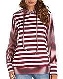 Dorimis Damen Gestreift Kapuzenpullover Langarm Hoodies Sweatshirt Pullover Lose Oberteile Outwear Rot&Weiß EU 44 / Etikettgröße XL