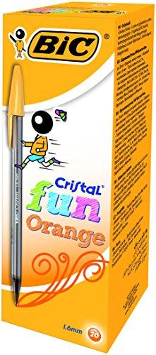 BIC Cristal Fun–Bolígrafo de color naranja caja de 20