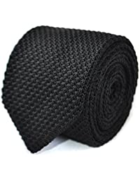 Frederick Thomas plain black knitted tie with pointed end 8cm
