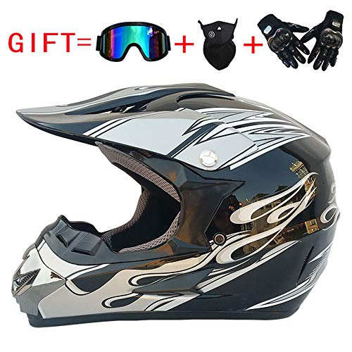 Motocross Helm ATV Dirt Fahrradhelm Old School Cross Country Integralhelm DOT genehmigt Winddichte Brille Maske Handschuhe Combo Motorrad,Siliver,L