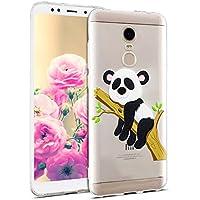 Uposao Hülle Xiaomi Redmi 5 Plus Handyhüllen Transparent Weiche Silikon Durchsichtig TPU Kratzfest Schutzhülle Crystal Clear Ultra Dünn Silikonhülle Handytasche,Lustig Panda Baum