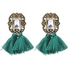 a74563ae67bd pendientes largos mujer flecos Sannysis pendientes de plata largos con  rhinestones de estilo vintage bohemio de