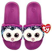 Ty TY95666 Moonlight the Owl Sequins Large Plush Slippers - Multi-Coloured