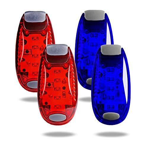 TBoonor LED Sicherheitslicht Clip auf Dauerlicht und Blinklicht Running Lichter für Läufer, Jogger, Wanderer, Kinder, Student,Haustiere (2 Rot 2 Blau)