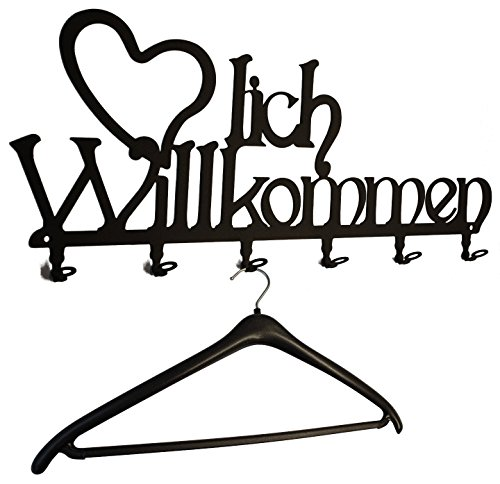 Wandgarderobe Herzlich Willkommen - Flurgarderobe 58 cm - Kleiderhaken, Hakenleiste, Garderobeneiste, Garderobenhalter, Garderobe - Metall, schwarz