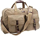 Iblue Unisex Canvas Weekend Duffle Leather Carry On Travel Overnight Bag B31