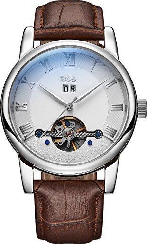 Angela Bos Men 's Fashion Automatic mecánico impermeable blanco Dial plata caso banda de marrón cintura relojes