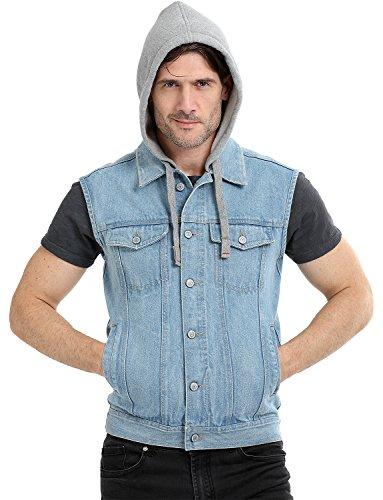 Zobello Sleeveless Hooded Denim Jacket(51165A_Light Wash Denim_L)
