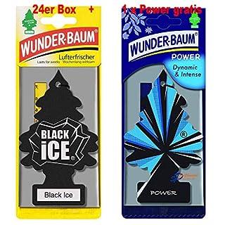 Wunderbaum 24er-Box Original Lufterfrischer Black Ice Duftbaum inkl. 1 Stück Original Power Wunder-Baum Duftbäumchen Little Trees (Black Ice)