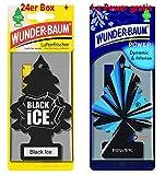 Wunderbaum 24er-Box Original Lufterfrischer Black Ice Duftbaum inkl. 1 Stück Original Power Wunder-Baum Duftbäumchen Little Trees