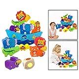 OFKPO 12PCS Animali Blocchi in Legno Equilibrio Giocattoli Puzzle Educazione per Bambini