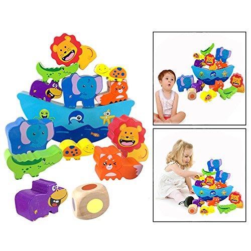 OFKPO Tiere Balance Spiel Spielzeug aus Holz,mit Würfel Stapel Bausteine Motorik Spielzeug für Kinder ab 3 Jahren