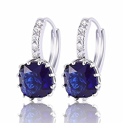 GULICX Navy Blue Hoop Earrings Huggie 925 Sterling Silver Square Princess Cut Stone Zircon