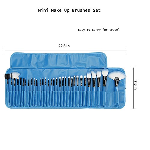 32 Pieces Mini Professional Make Up Brushes , Start Makers Cosmetics Make Up Brush Travel Set Essential for Professionals AND DIY Users