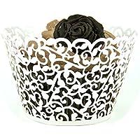 TININNA filigrana fiore merletto Ritagliare del Cupcake Wrapper avvolge Liners nozze decorazione della torta 60 pezzi