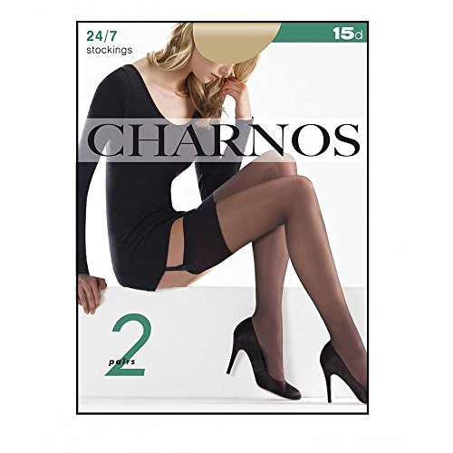 59ba538bb3c Charnos Hosiery Womens 15 denier 2 pack 24-7 sheer stockings size Small in  Black