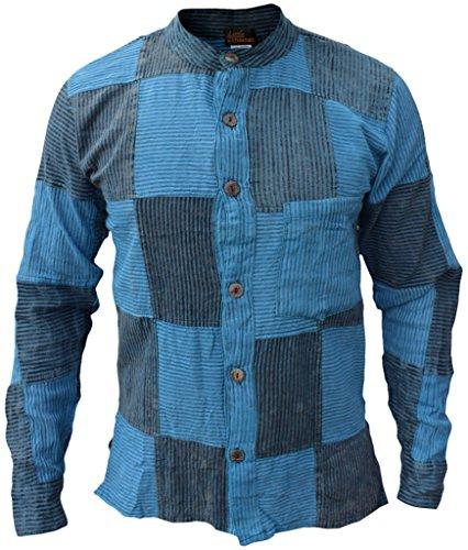 Little Kathmandu Männer Pin Gestreift Baumwolle Grandad Sommer Hemd Blue Black Small (Blau Oxford-hemd Gestreiftes)