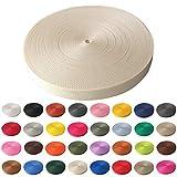 Schnoschi Gurtband Polypropylen 5 Meter lang – viele Verschiedene Breiten und Farben 10mm 15mm 20mm 25mm 30mm 40mm 50 mm (Creme, 10 mm)