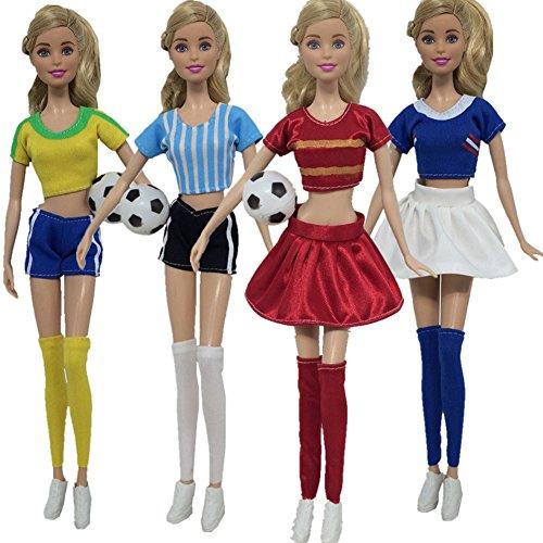 Etbotu Puppe Hochzeitskleid World Cup Frauen Fu?Baller Puppen Kleidung Puppe Zubeh?r Sport Socken + Hosen / Rock + Shirt f¨¹r Barbie Puppe (Nicht Inlicude Fu?Ball Schuhe Oder Puppen)