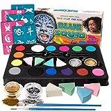 Blue Squid Face Painting Palette de Maquillage pour Enfants by, Party Pack 52 Pieces, 14 Painting Couleurs Vives, 30 Pochoirs, 2 Pinceaux, Non-Toxique Ensemble de Peinture à Base d'eau