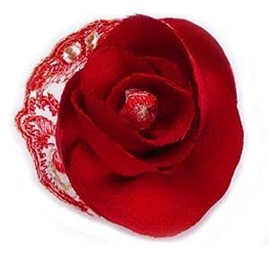 Broche fleur rouge en tissu crêpe de soie et dentelle.