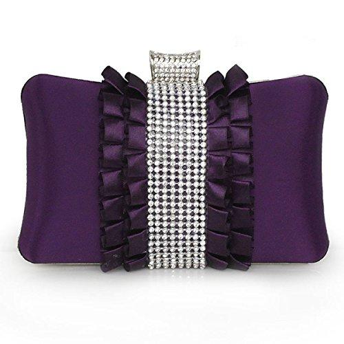 Strawberryer Mallette Pour Dames Boucles D'oreille En Soie Aux Diamants Banquet Robe Décoration Sac Pour Téléphone Cellulaire Embrayage purple