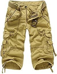 HAHOME Hommes Style militaire Combat des cargaison Cargo Shorts Coton (Sans ceinture)