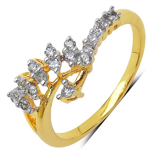 Johareez 1.30 Grams White Cubic Zirconia Gold Plated Brass Ring for Women