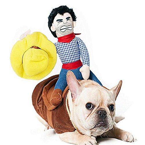Haustier Kleidung, Hund Katz Cowboy Rider Kostüm, Ritter-Puppe mit Kleid und Hut, lustige Haustier Kleidung für Halloween Partys Thanksgiving Day Weihnachten Verkleiden Sich (XL) (Lustiges Thanksgiving Kostüm)