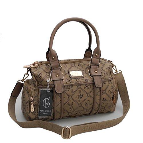 Damentasche von Giulia Pieralli - Damen Glamour Handtasche Handbag Tasche Henkeltasche Bowling Tasche Umhängetasche ( Camel ) präsentiert von ZMOKA®