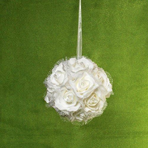 Dekorationskugel weiße Rosen zum Aufhängen Kugel ca. 14 cm Durchmesser Rosenkugel