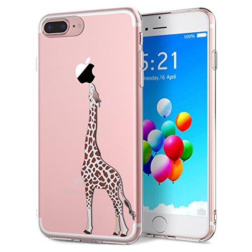 Flower Design Iphone (Yokata iPhone 7 Plus Hülle Durchsichtig Silikon mit Weich Bumper Klar Schutz Handyhülle Case Tasche - Amüsant Wunderlich Design Giraffe Motiv)