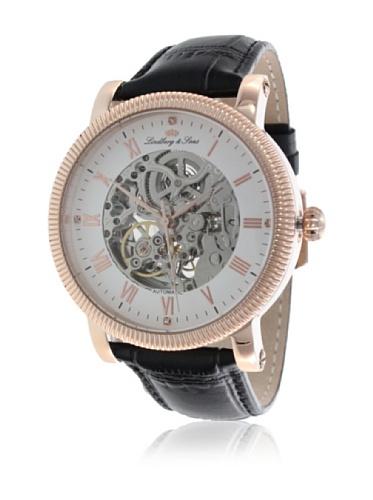 Montre homme Lindberg & Sons Automatique- Affichage Squelette bracelet Cuir Noir et Cadran Blanc CO5590180