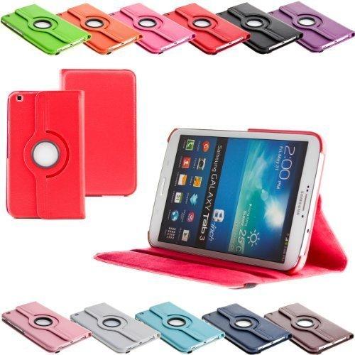 Tab3 360 ° Schutztasche für SAMSUNG GALAXY TAB 3 Hülle Schutz Etui Tasche Cover Case (8.0 Rot)