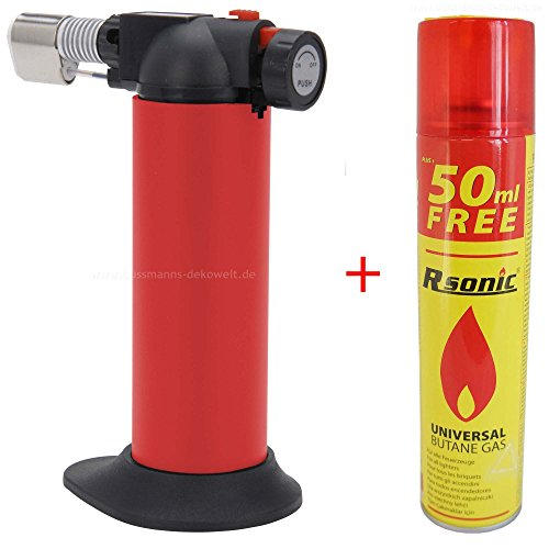 Creme Brulee Brenner Flambierer Rot + Universal Butangas Gasbrenner (Torch Universal)