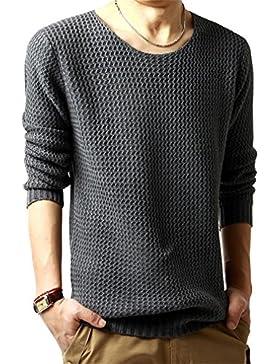 Casual Manga Larga Jersey para Hombre, Honghu Ocio Cuello Redondo de Punto Sweater Gris oscuro M
