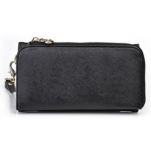 Kroo d'embrayage portefeuille avec dragonne et sangle bandoulière pour Huawei Ascend mate7 Black and Green Black and Orange
