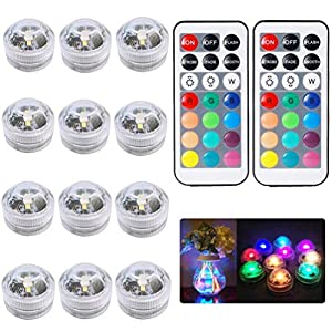 12pcs Submersible LED Tea Lights Bath Underwater Lights SMD 3528 RGB Lights for Fish Tank and Pond with IR Remote…