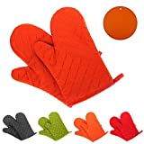 GoFriend Oven Gloves Non-Slip Kitchen Oven Mitts Heat Resistant Cooking Gloves for Kitchen Grilling Cooking, Baking, Barbecue Potholder, 1 Pair, with Two Free Coasters (Orange)