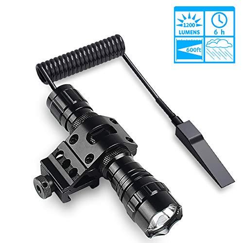 Taktische Taschenlampe LED Jagdlicht mit hoher Lumen, wasserabweisend, Druck & Maus Rückschalter, 2 wiederaufladbare Batterien Ladegerät 45° Picatinny Halterung für Camping Wandern (Weaver-schiene Halterungen)